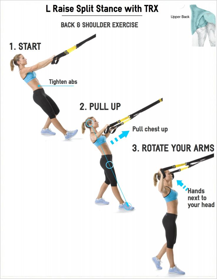 L Raise Split Stance with TRX Suspension Band | Work on your back and shoulder muscles with this L Raise.