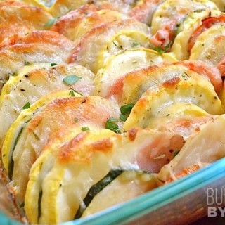 Summer Vegetable Tian, so easy and I can so totally make this for dinner as a side!! Or add sausage and its dinner!