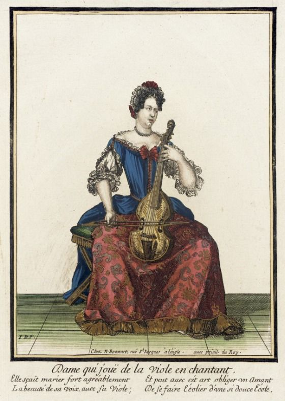 Recueil des modes de la cour de France, 'Dame qui Jouë de la Viole en Chantant'  Nicolas Bonnart (France, 1637-1717)  France, Paris, circa 1682-1686  Prints  Hand-colored engraving on paper