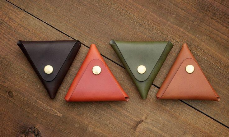 三角形の本革コインケース | 革小物のDURAM FACTORY