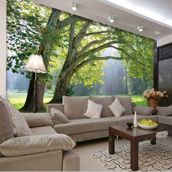3d natural landscape park and trees theme wall mural for Papel mural living comedor