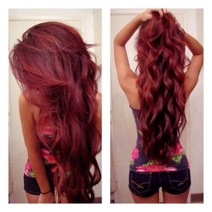 Jolie coloration cheveux rouge framboise