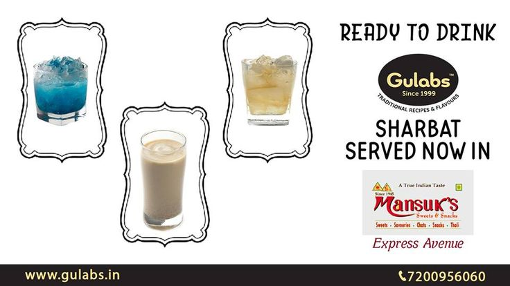 Take a break from Shopping and indulge in our Ready-to-Drink Sharbats @ Mansuk's, Express Avenue, Chennai  #LemonGinger #Pudina and #Thandai variants available!