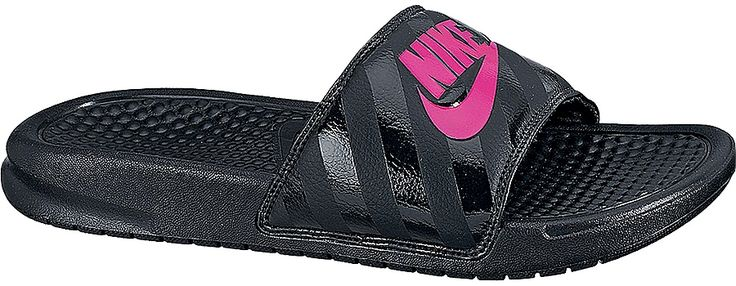 Women's Nike Benassi %22Just Do It%22 Sandal features a lined upper with a bold logo for plush comfort and an athletic look. A foam-infused midsole and outsole provide lightweight impact protection.<br/>synthetic upper with jersey lining and foam package for comfort, phylon foam at midsole and outsole for lightweight cushioning, Nike corporate logo for athletic style, rubber outsole for traction and durability