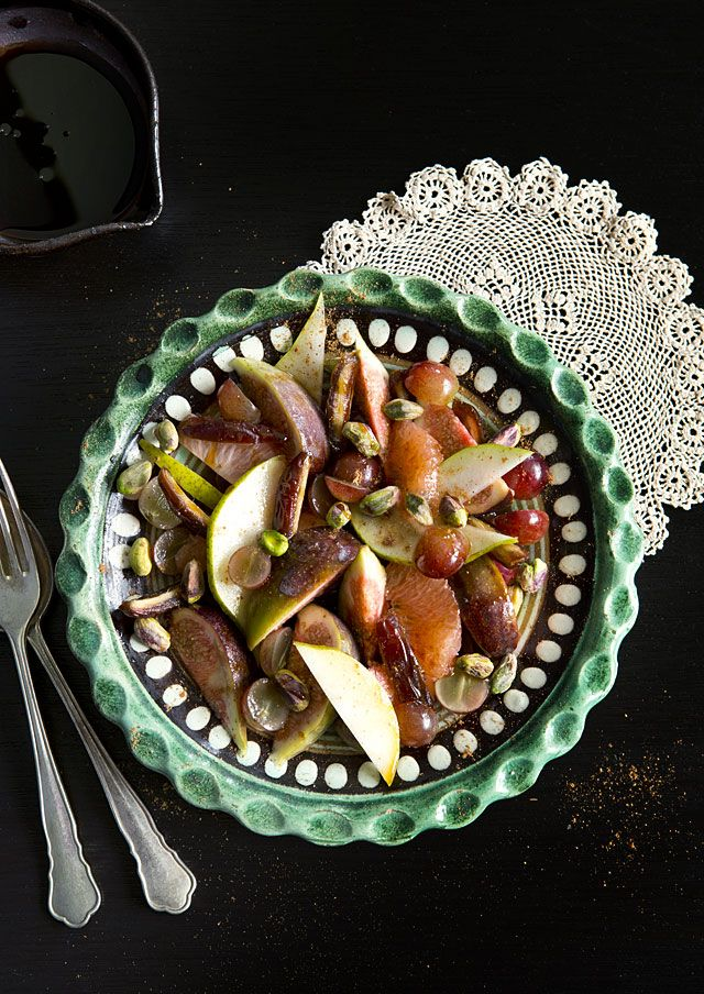 The Cookbook Archives this week: Susannah Blake's Mediterranean Fruit Salad With Spices & Pistachios on Tanya's food blog The Cook Who Knew Nothing. www.tanyazouev.com