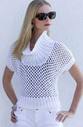 Short Sleeved Openwork Pullover Free Knitting Pattern