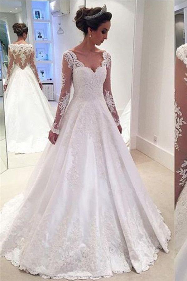 324c273c3ab9 Modest White Long V-neck Lace Satin Beaded A-line Long Sleeves Wedding  Dresses Z0181