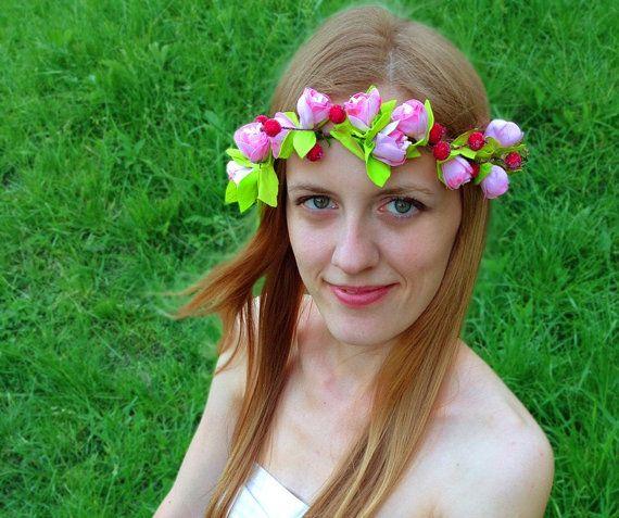 Fiore rosa corona rosso germogli di rosa schiuma Boho fascia floreale nuziale testa corona capelli pezzo regalo per suo donne regalo da Damigella corona fiore ragazza