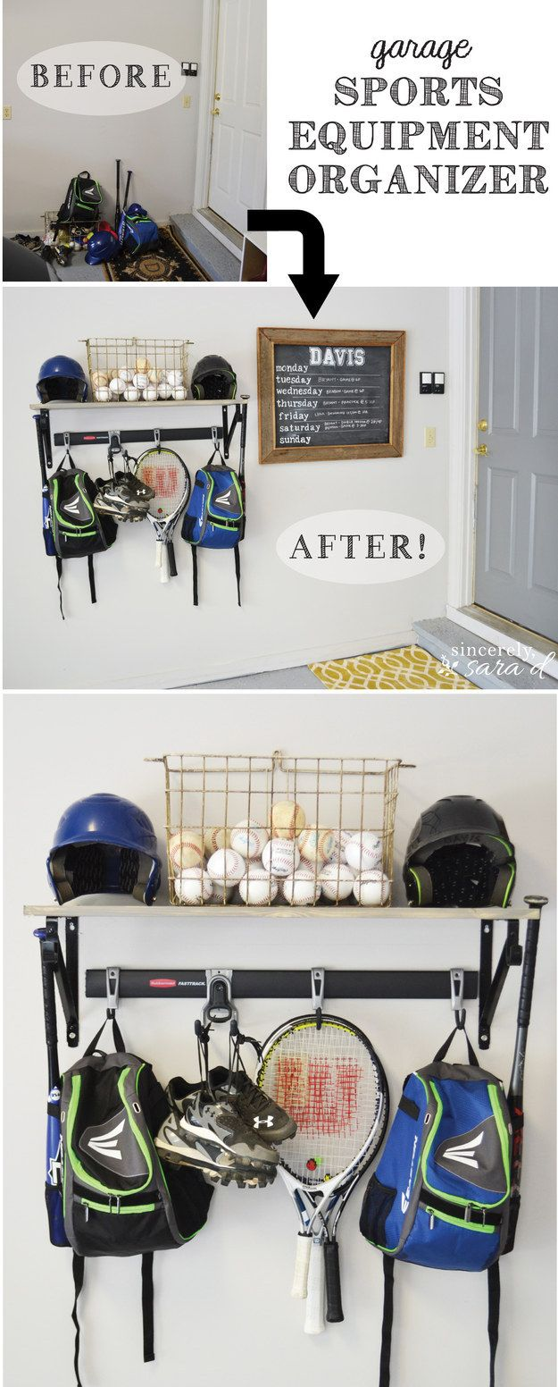 Install a sports equipment organizer to organize athletic gear. | 37 Clever Ways To Keep Your Whole Family Organized