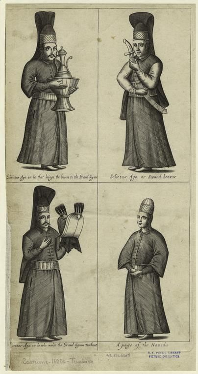 Men In The Turkish Royal Court, 17th Century.] From New York Public Library Digital Collections.