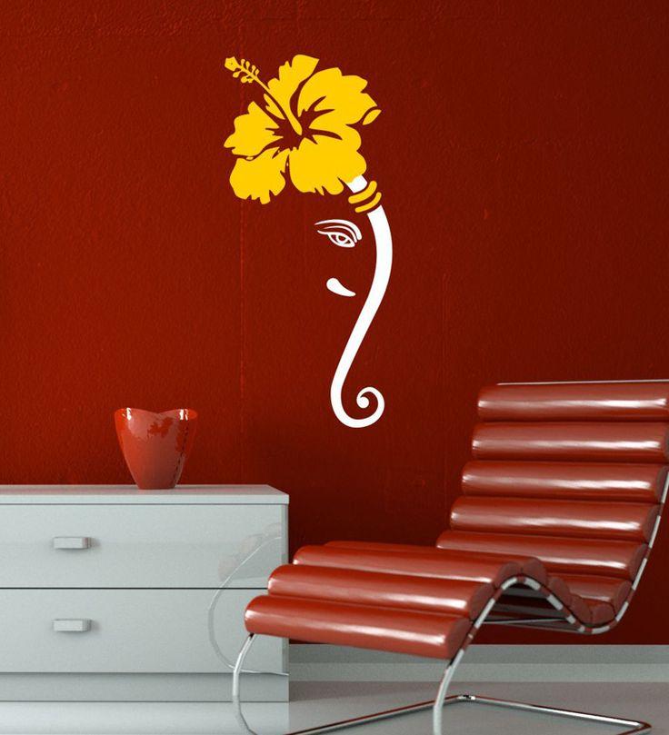 Chipakk Small White Shoe Flower Ganesha Decal by Chipakk Online - Spiritual - Home Decor - Pepperfry Product