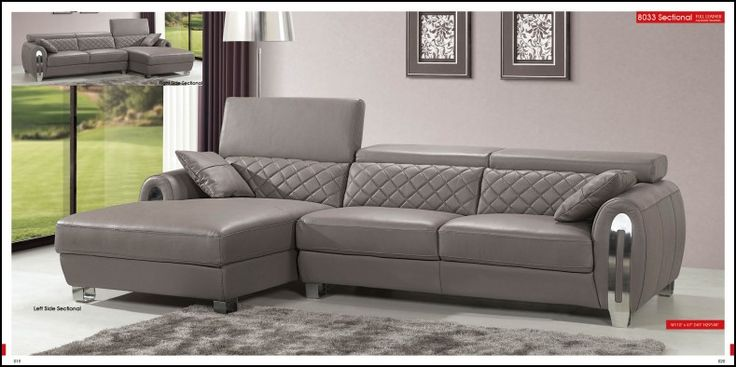 esf furniture full leather sectional sofa in gray