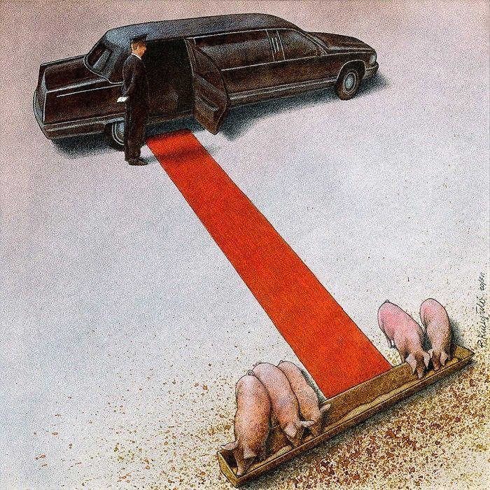 Pas content l'artiste  Pawel Kuczynski. Spécialisé depuis 2004 / images provocantes / suscitent la réflexion - vilaine satyre percutante