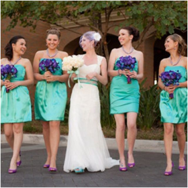Purple & Turquoise Wedding. love this idea of turquoise dresses and purple shoes for the bridesmaids!