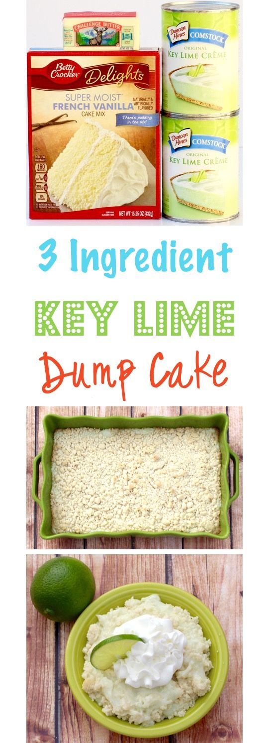 Key Lime Dump Cake Recipe!  Get your Key Lime fix with this ridiculously EASY 3 Ingredient Cake Mix Dump Cake!  This creamy, delicious Key Lime Dessert is always in season!   TheFrugalGirls.com