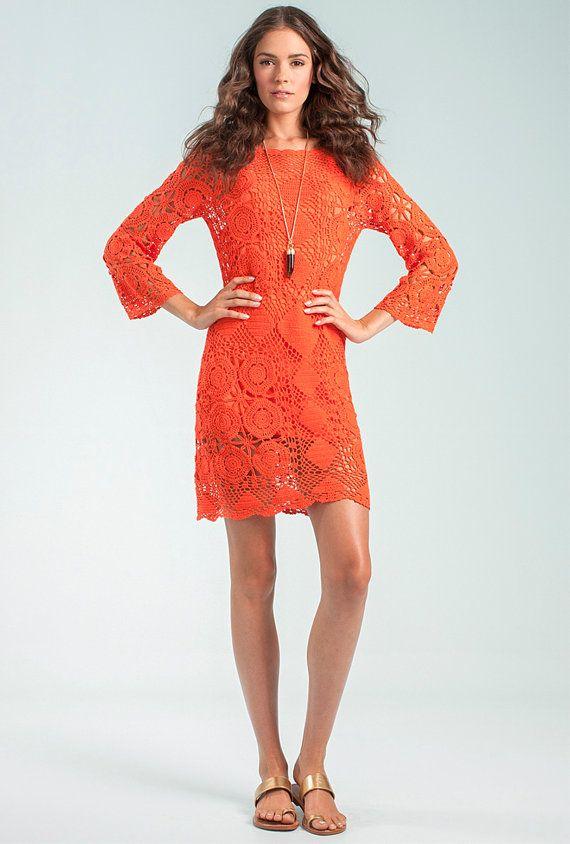 CROCHET FASHION TRENDS exclusive orange crochet summer dress - made to order