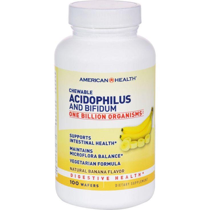 American Health Acidophilus With Bifidus Chewable Banana - 100 Wafers