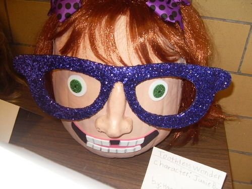 Junie B. Jones Pumpkin! What a fun whole school activity! Pumpkin decorating contest with a lit. theme! MUST share this with our librarian!!!!!