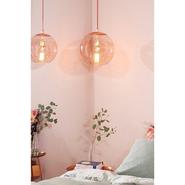 emelle glass globe pendant light 175 aud liked on polyvore featuring home lighting ceiling lights glass bulb pendant light glass globe plug in