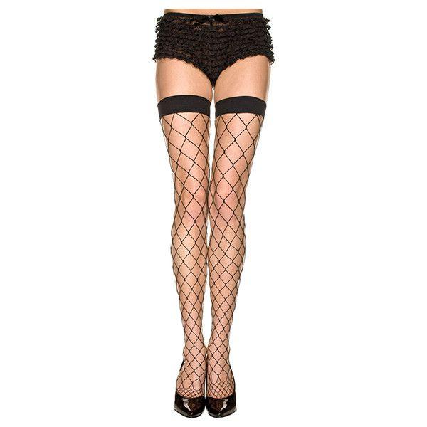Women's Hosiery: Diamond Net Spandex Thigh Hi-Black/Regular ($9.99) ❤ liked on Polyvore featuring intimates, hosiery, tights, black, socks & hosiery, thigh high stockings, thigh high garter belt, spandex tights, net stockings and net tights