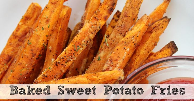 Baked Sweet Potato Fries - delicious, but they always come out soft and limp instead of crispy like fries. These baked sweet potato fries are delicious and bake up nice & crispy!