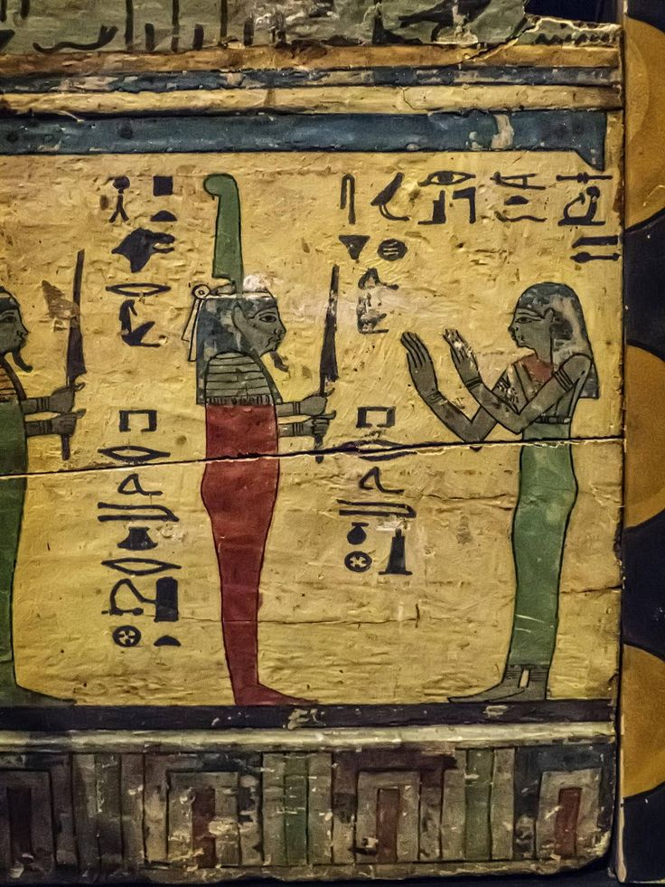 https://flic.kr/p/LwXxYF | Closeup of Outer coffin of Meret-it-es Egypt Late Period to Ptolemaic Period, 30th Dynasty to early Ptolemaic Dynasty 380-250 BCE Wood Pigment and Gesso | Photographed at the Nelson-Atkins Museum of Art, Kansas City, Missouri.