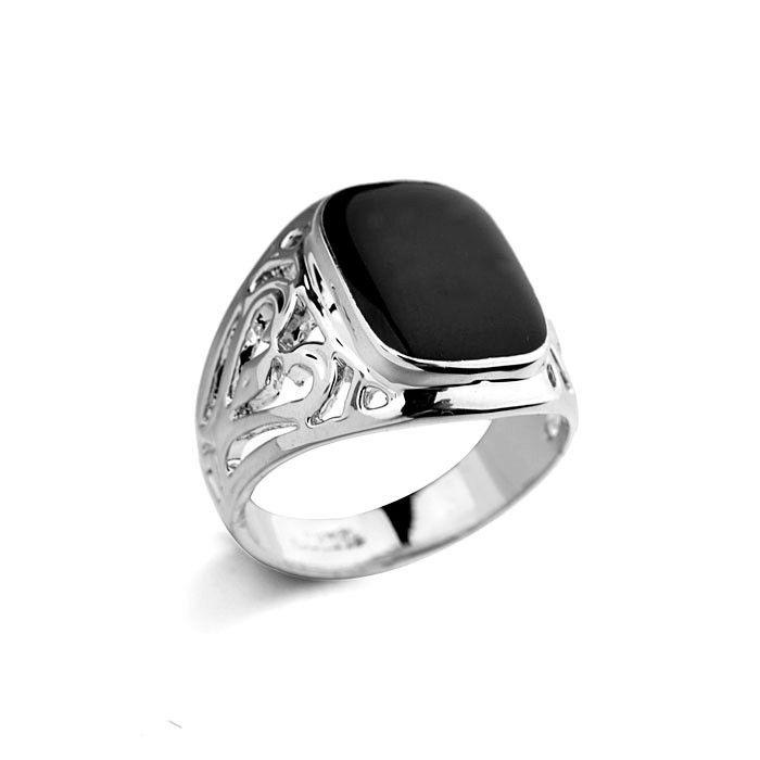 Italina ювелирных изделий с бриллиантами мода дешевые кольца для мужчин, черный камень мужчины кольцо