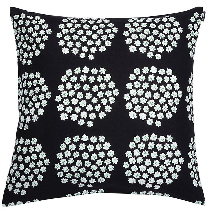 "Marimekko 20""X20"" ""Puketti"" 100% cotton cushion, 1965 design by Annika Rimala, Finland.  Black, white, green dots."