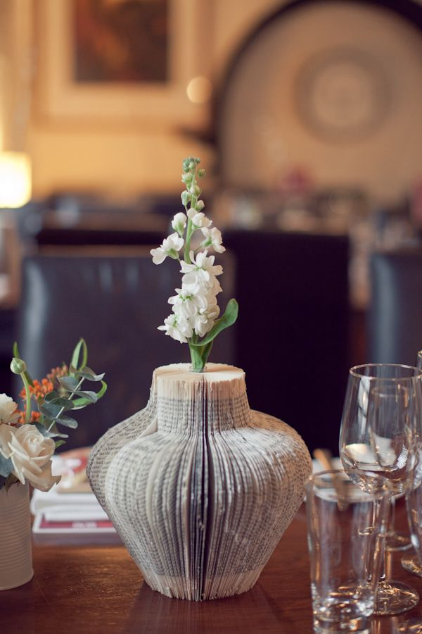 DIY wedding centrepiece vase made of real books! Photography Credit: CandySnaps Photography