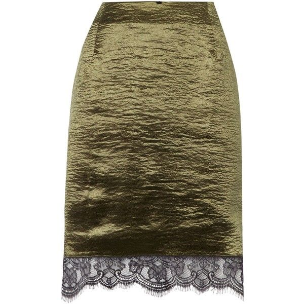 Therapy Leysa metallic lace trim pencil skirt (£35) ❤ liked on Polyvore featuring skirts, khaki, women, knee length pencil skirt, pencil skirt, brown pencil skirt, brown skirt and metallic pencil skirt