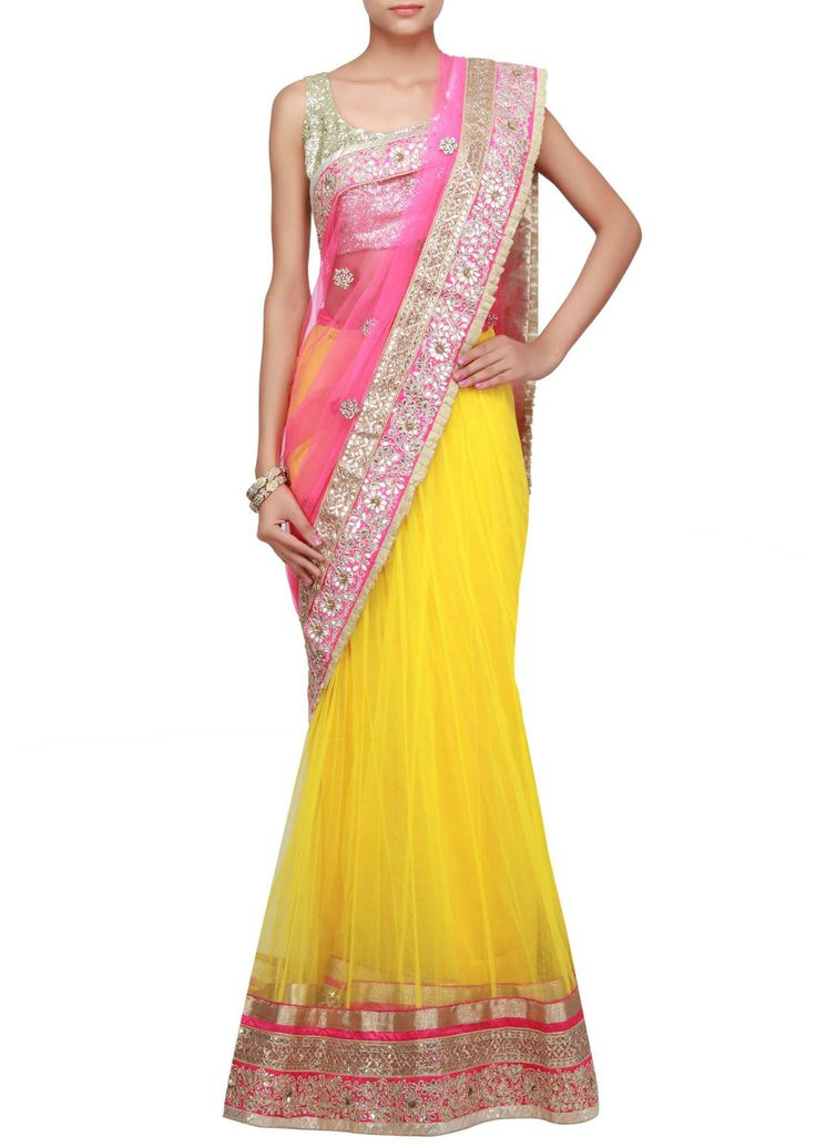 Half and half lehenga saree in pink and yellow embellished in stone and gotta patti