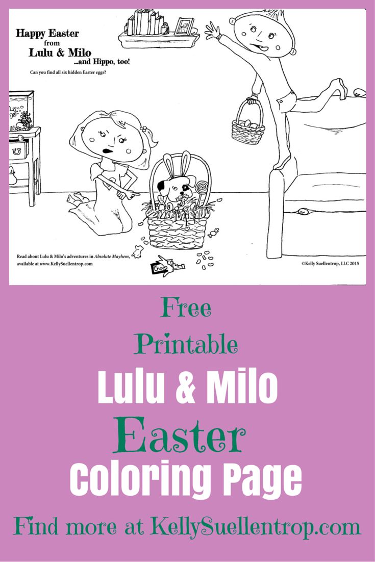 free printable easter coloring page featuring lulu milo characters in the childrens book