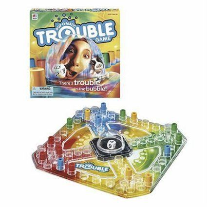 Trouble - Be the first player to send your four game pieces all the way around the board, moving spaces determined by rolls of the dice.