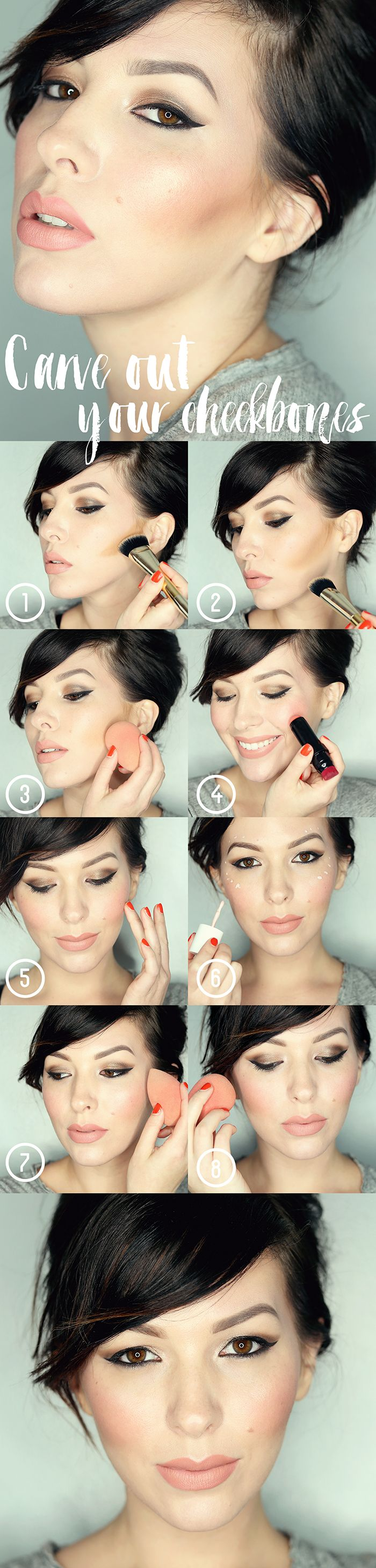 Makeup Monday Tutorial: How To Carve Out Your Cheekbones / contour, highlight and blush                                                                                                                                                                                 More