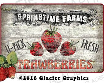Vintage U-Pick Strawberries Primitive Labels Digital Download Country Farmhouse Printable Scrapbook Graphics Collage Sheet Clip Art Images