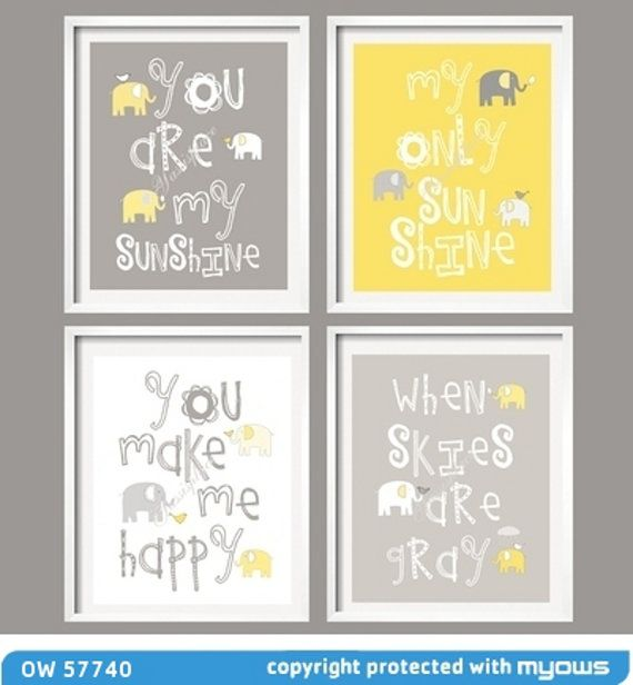 Kids Wall Art Yellow and Gray Nursery Decor Prints - You Are My Sunshine - Elephant and bird -  8x10 - baby shower gift, for boy or girl