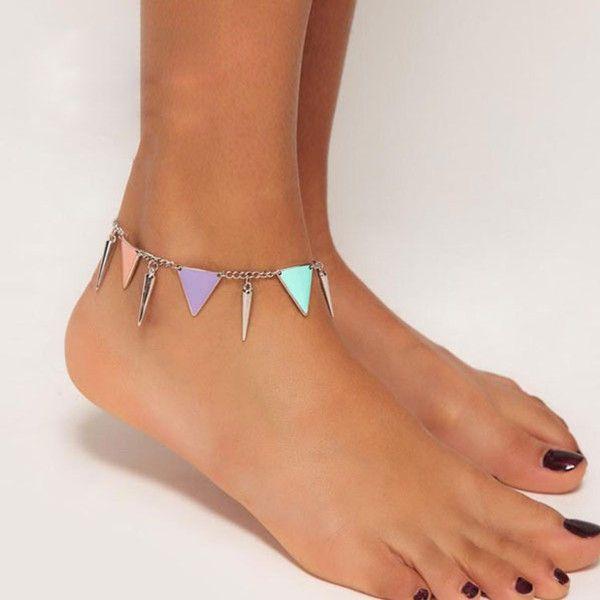 Punk Geometry Triangle Bullet Rivet Ankle Chain Bracelet