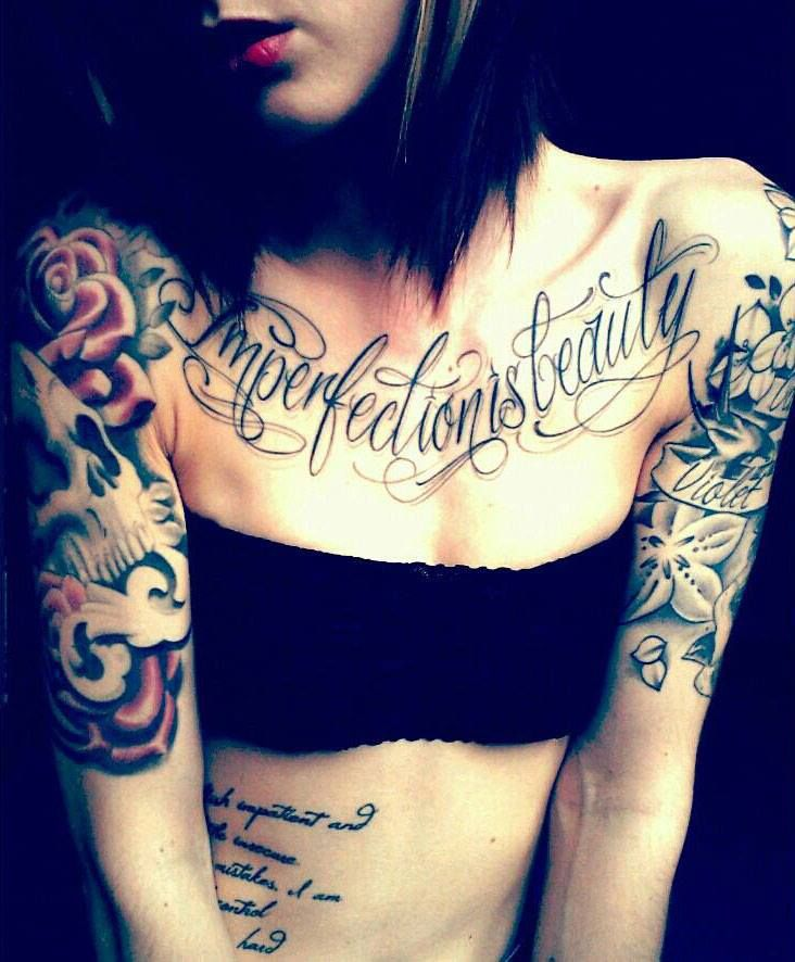 Imperfection is beauty- i want the chest tattoo not the others. i love the placement!