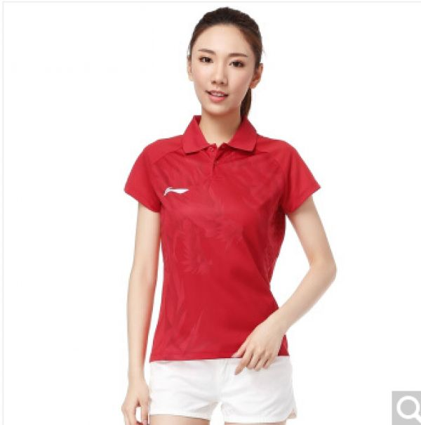 Li Ning 2014 Womens Table Tennis Indoor Game Floral Polo T-shirt