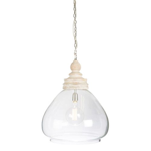 Haven Glass And Wood Pendant Antique Light