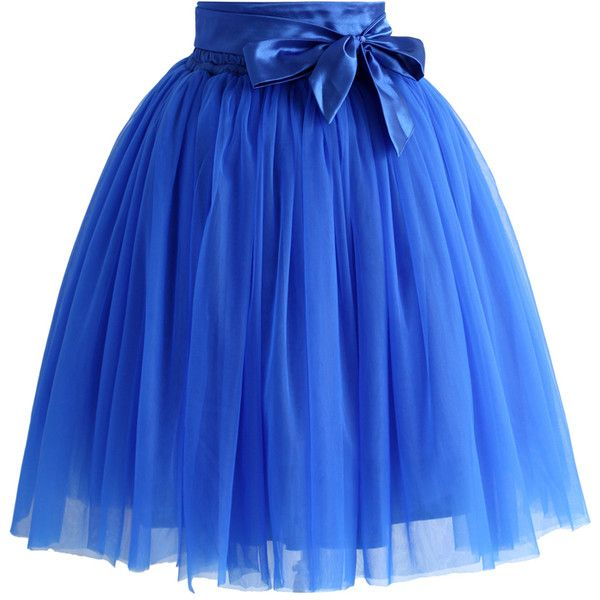 Chicwish Amore Tulle Skirt in Sapphire Blue (€40) ❤ liked on Polyvore featuring skirts, bottoms, blue, faldas, tulle skirts, blue tulle skirt, blue skirts, blue knee length skirt and chicwish skirt