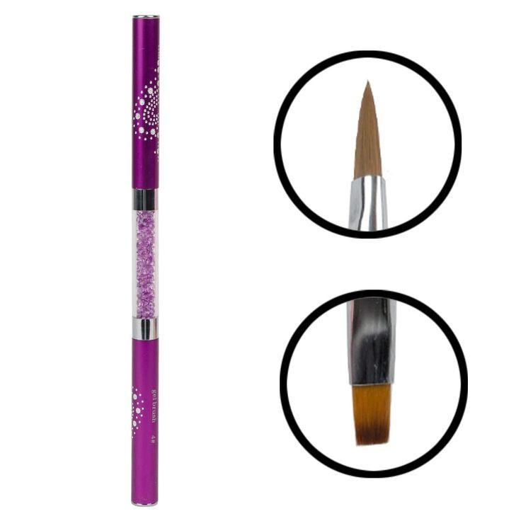 New Fashion Acrylic Nail Art Builder Brush Pen Rhinestone Handle Kolinsky Brush Pen For Nail DIY Tool
