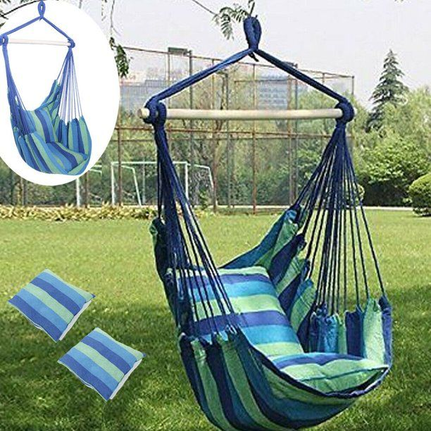 Portable Hammock Hanging Rope Chair Porch Patio Yard Seat Camping Stripes Air Deluxe Sky Swing Outdoor With Pillows Blue Walmart Com In 2020 Swing Chair Outdoor Hanging Hammock Chair Hammock Swing Chair
