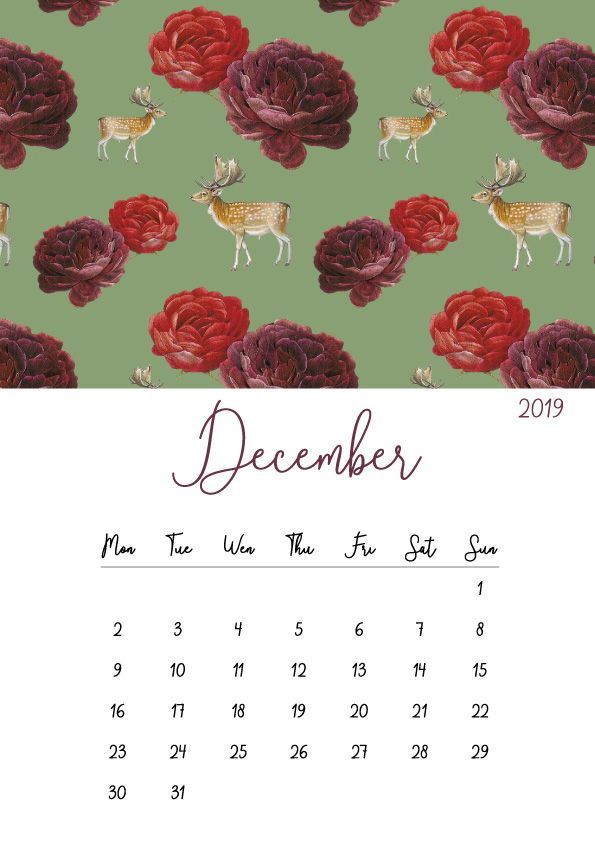 2019 Printable Calendar Monthly Calendar Downloadablepin By Darlene