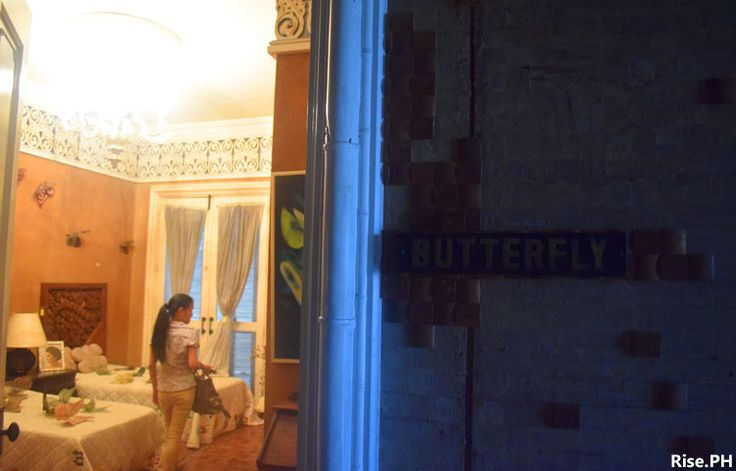 A room with butterfly motif