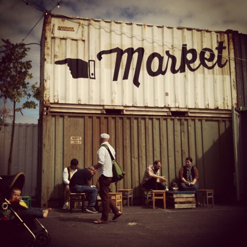 The People's Market & Flea, a new open-air Melbourne market located in an empty lot in the Docklands precinct.