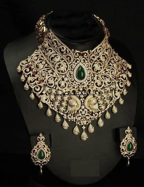 Stunning Designer Heavy Diamond Necklace From Vbj