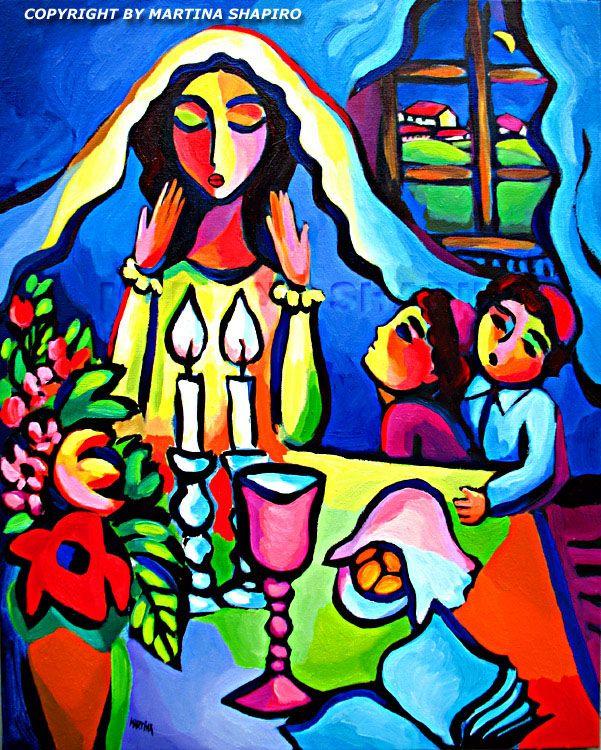 Lights Of Shabbat,  Jewish art, original oil painting by artist Martina Shapiro. contemporary, expressionist, abstract fine art