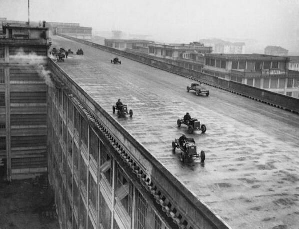 The rooftop test track on the Fiat factory in Turin, 1928