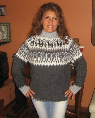 Grauer #Rollkragen #Pullover, #Norweger #Stil aus #Alpakawolle